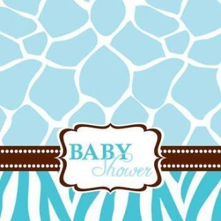 Wild Safari Blue Lunch Napkins Zebra Animal Print Baby Shower
