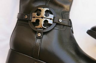 NIB Tory Burch Aaden Black Leather Riding Boot 9 Gunmetal Logo SOLD