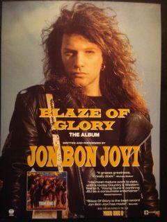 JON BON JOVI   VINTAGE 1 PAGE ADVERT/POSTER FROM MUSIC MAGAZINE. BLAZE