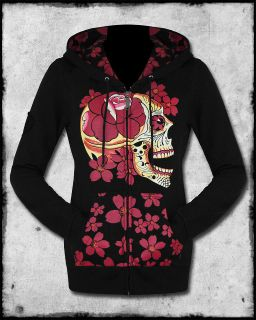 IRON FIST SIESTA SUGAR SKULL DAY OF THE DEAD ROSE TATTOO BLACK HOODIE