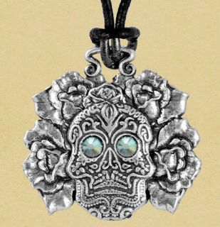 SUGAR SKULL NECKLACE   Dia de los Muertos & Leather Cord   Lead Free