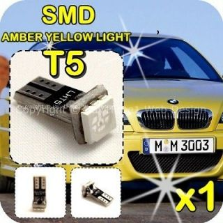 AMBER YELLOW T5 SMD Wedge LED Light Bulb Xenon Speedo Dashboard