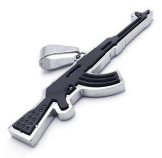 Black Army Style Stainless Steel AK47 Rifle Gun Pendant Mens Necklace