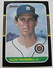 RECOLLECTION 1987 LEAF 230 ALAN TRAMMELL SIGNED AUTOGRAPH 21 89