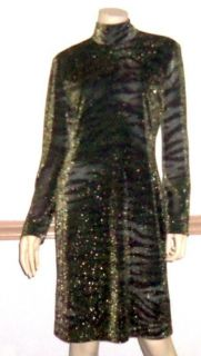ELLEN TRACY BY LINDA ALLARD BLACK W/ GOLD SPECKLES SHEATH DRESS PRE