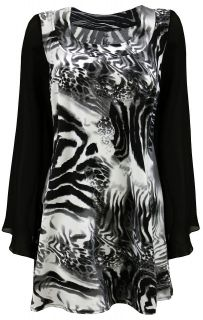 Ladies Plus Size Zebra Print Top With Chiffon Sleeves #842