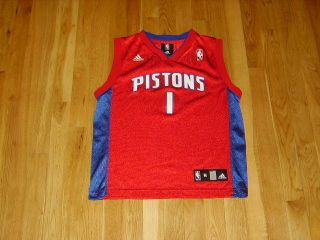 ADIDAS ALLEN IVERSON RED DETROIT PISTONS YOUTH NBA THROWBACK REPLICA