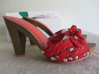 HELLO KITTY Twenty10 Red Peep Toe High Heels Lorette Style NEW IN BOX