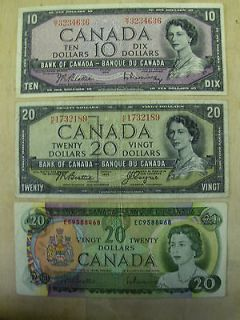 1954 TWENTY & Ten Dollar Canadian Bill & 1969 Twenty Dollar Bill  3 in