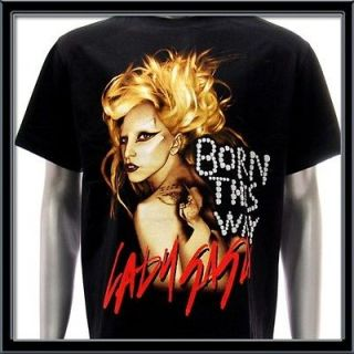 Sz M LADY GAGA T shirt Born This Way Sexy Star Pop Rock