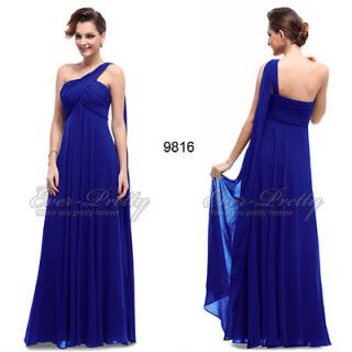 BNWT One Shoulder Padded Ruffles Blue Quinceanera Damas Gown 09816 US