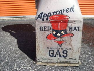 1930 Red Hat Gas Service Station Sign Old Vintage Antique Weathervane