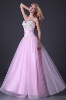 Beaded A line Tulle Quinceanera Ball gown Evening Prom dress 2 4 6 8