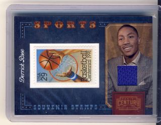 2010 Century Collection Souvenier Stamps Derrick Rose Jersey Bulls 250
