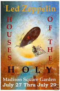 Classic Rock Led Zeppelin at Houses Of Holy NY Concert Poster Circa