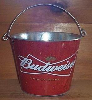 BUDWEISER BUD PUB STYLE BAR METAL BEER ICE BUCKET COOLER NEW