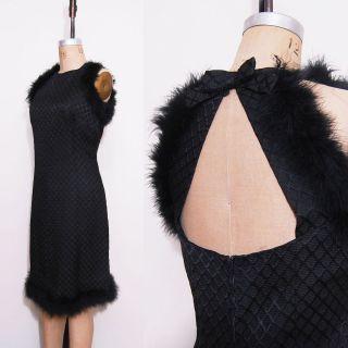 Vintage 1960s Audrey Hepburn Costume Black Feather Knee Length Dress