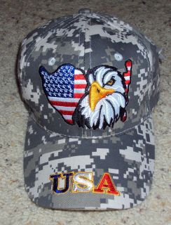 Camo USA Eagle Patriotic American Flag Baseball Cap Hat