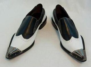 New Fiesso Black/White Dress Shoes Slipon Leather, FI6648