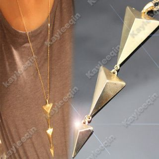 Fab Gold Art Deco 3D Triangle Body Arrow Spike Stud Chain Necklace