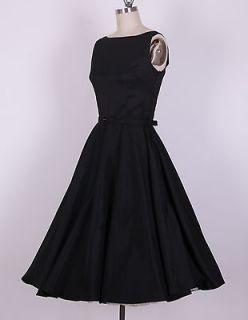 50s Audrey Hepburn Style Black Dress Size M Pinup Vintage Swing