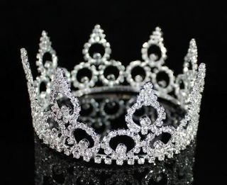 STUNNING FULL CROWN CLEAR AUSTRIAN RHINESTONE CRYSTAL TIARA PAGEANT