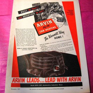 1947 VINTAGE AD ARVIN BIG FLO CAR HEATERS COOL COLOR GRAPHICS