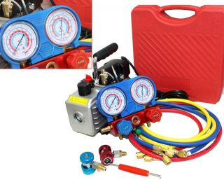 Vane AC Vacuum Pump + R134A Diagnostic Testing Charging Manifold