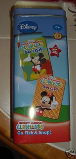 MICKEY MOUSE CLUBHOUSE GO FISH & SNAP CARD GAMES in tin