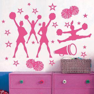 CHEER CHEERLEADERS GIRLS POMS *** Stars Vinyl Wall Decor Mural Decal