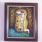 Framed Gustav Klimt The Kiss Reproduction Hand Painted Oil Painting On
