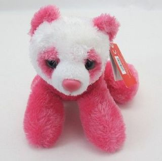 Aurora Plush Bright Pink Panda Bear Mini Flopsie Stuffed Animal Toy