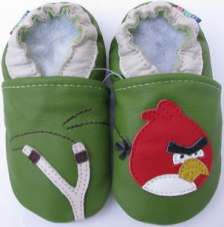carozoo angry bird slingshot green 12 18m soft sole leather baby shoes