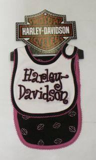 Infant Baby Girl Harley Davidson Bib & Burp Cloth Set   Pink & Black