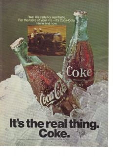 1969 Coca Cola Coke Its the Real Thing Race Car Ad