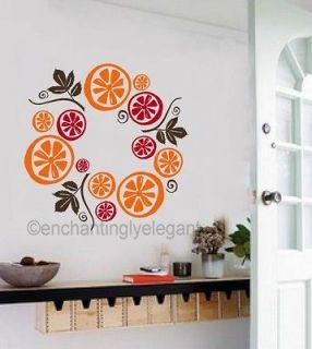 Fruit Wreath Modern Kitchen Bar Room Decor Backsplash Vinyl Decal Wall