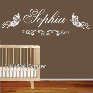 Custom your kids name with 2 Butterflies & wall sticker