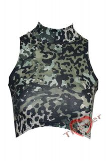 Womens Ladies Camouflage Print Turtle Polo Cowl Neck Cropped Vest Tee