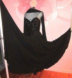 Black Ballroom Dance Dress with Black Sequin Bodice