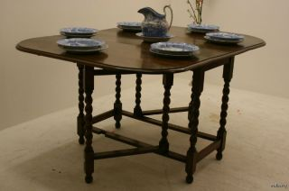 Antique English Large Gateleg Oak Barley Twist Dining Table