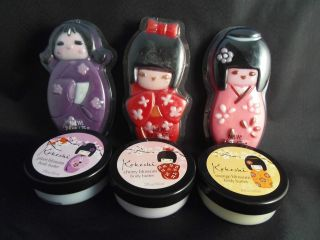 Japanese Kokeshi Doll Bath Set Body Butter + Crystal Soap Gift NEW