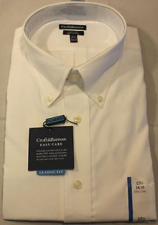 New Mens Croft & Barrow Solid White Dress Shirt Classic Fit   100%