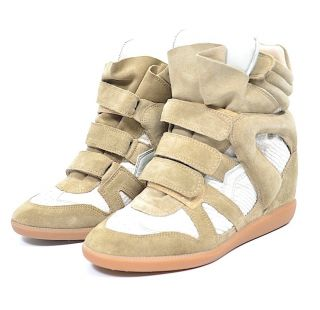 ISABEL MARANT BAZIL OVER BASKET ECRU WEDGE TRAINERS SNEAKERS FR 40 EU