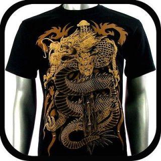 RC Survivor T Shirt Biker Vtg Dragon 3D Tattoo T13 Sz L Graffiti