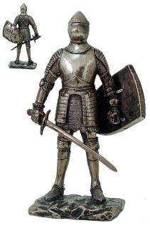 SMALL MEDIEVAL KNIGHT FULLY ARMORED STATUE FIGURINE