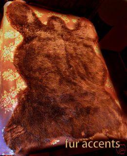 PLUSH LIFE SZ BROWN BEAR SKIN PELT RUGS FAUX FUR LOG CABIN SHEEP