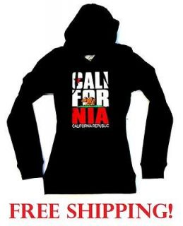 New CALIFORNIA REPUBLIC BABY BEAR Junior Black Thermal Pullover Hoodie
