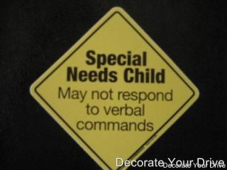 CAR STICKER Special Needs Child Emergency Notice   great for car seat
