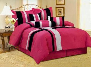 Luxury set silver black white striped comforter set - Black white pink comforter ...