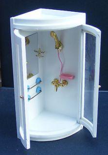 12 Scale Wooden Corner Shower Unit Dolls House Miniature Accessory